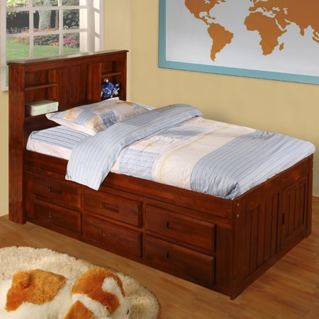 American Furniture Classics Model 2820-BCM, Solid Pine Bookcase Headboard Twin with Six Drawers in