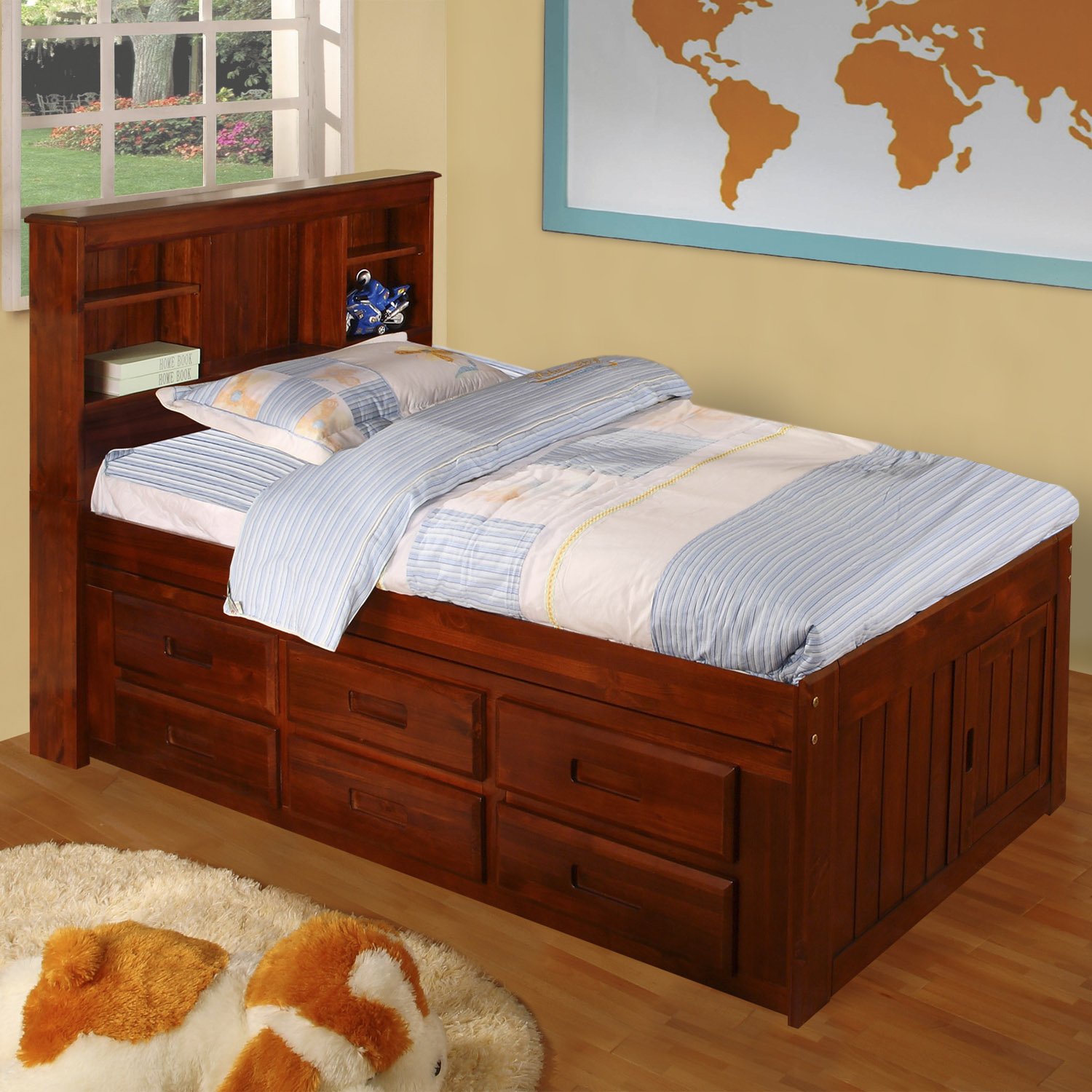 American Furniture Classics Model 2820-BCM, Solid Pine Bookcase Headboard Twin with Six Drawers in Merlot