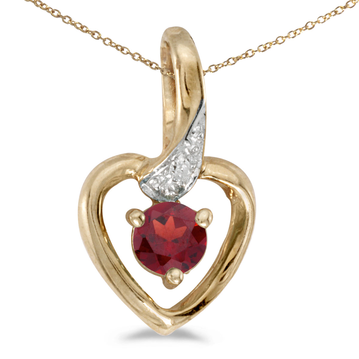 "10k Yellow Gold Round Garnet And Diamond Heart Pendant with 16"" Chain"