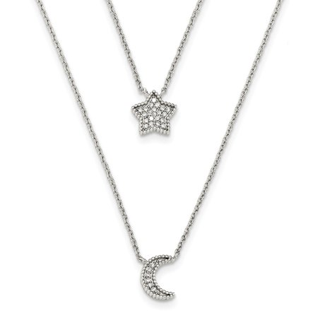 Sterling Silver 16in Polished CZ Moon and Star Double Strand (Heated 16in Strand)