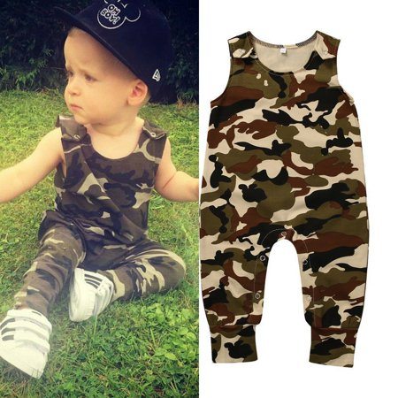 Newborn Toddler Baby Boys Girls Clothes Camouflage Romper Bodysuit Outfits 0-24M
