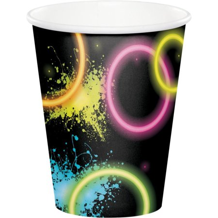 Creative Converting Glow Party Hot/Cold Paper Cups 9 Oz., 8 ct - Glow In The Dark Cup