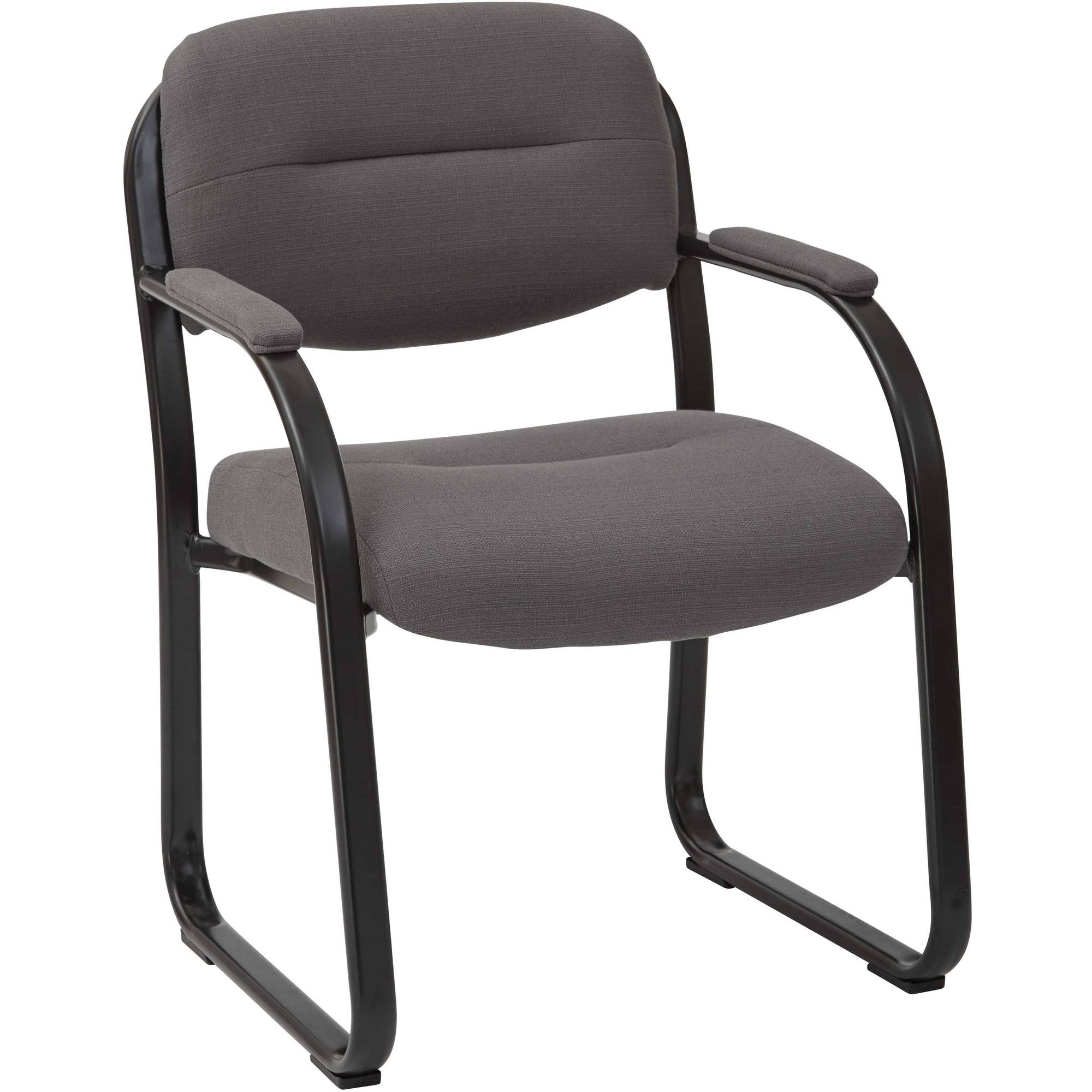 Deluxe Fabric Visitors Chair with Sled Base, Padded Arms and Heavy Duty Metal Sled Base, Multiple Colors