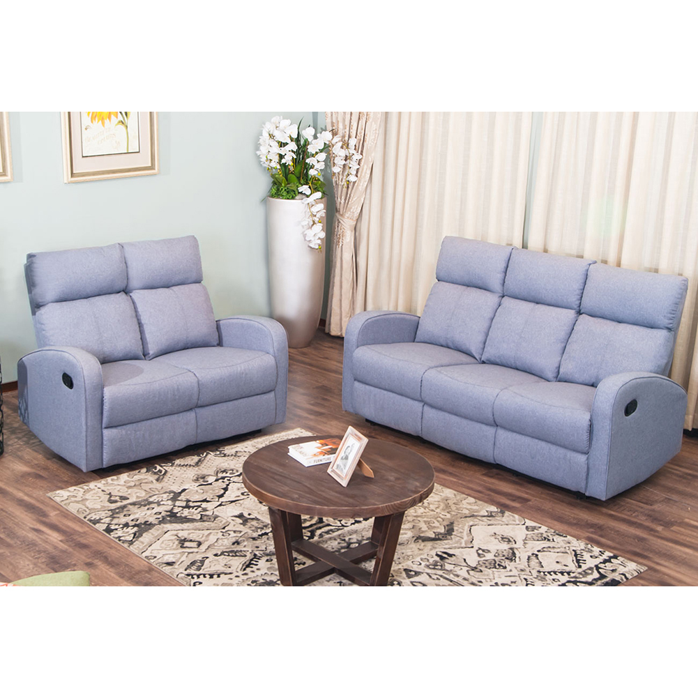 Topcobe Recliner Sofa Set (Loveseat + 3-Seater Sofa), Traditional Classic  Manual Recliner Couch Sofa Chair for Living Room, Home Office, Real Grain  ...
