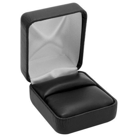 Rings 1 Box - Black Leather Ring Box (Sold In Packs Of 12), Product note: Holds (1) ring. Two-piece packer included. By Display and Fixture Store