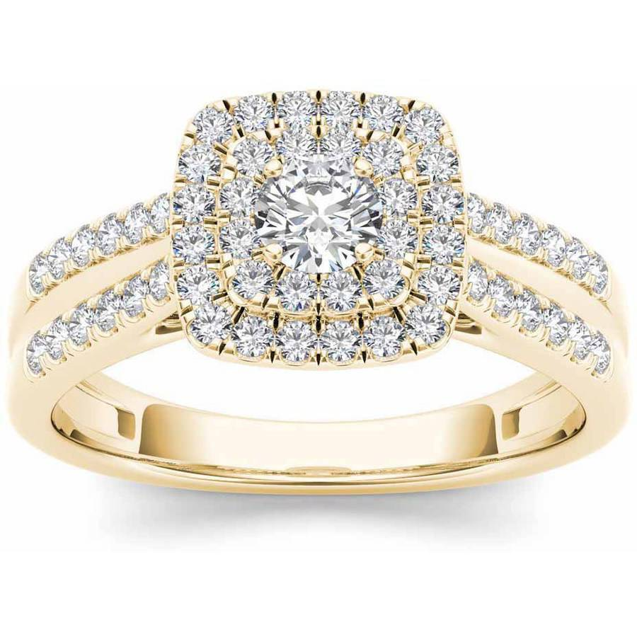 Imperial 3 4 Carat T.W. Diamond Double Halo 10kt Yellow Gold Engagement Ring by Imperial Jewels