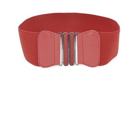 Unique Bargains Interlocking Buckle Red Stretchy Waistband Belt Dress Ornament for - Stretchy Wrist Bands
