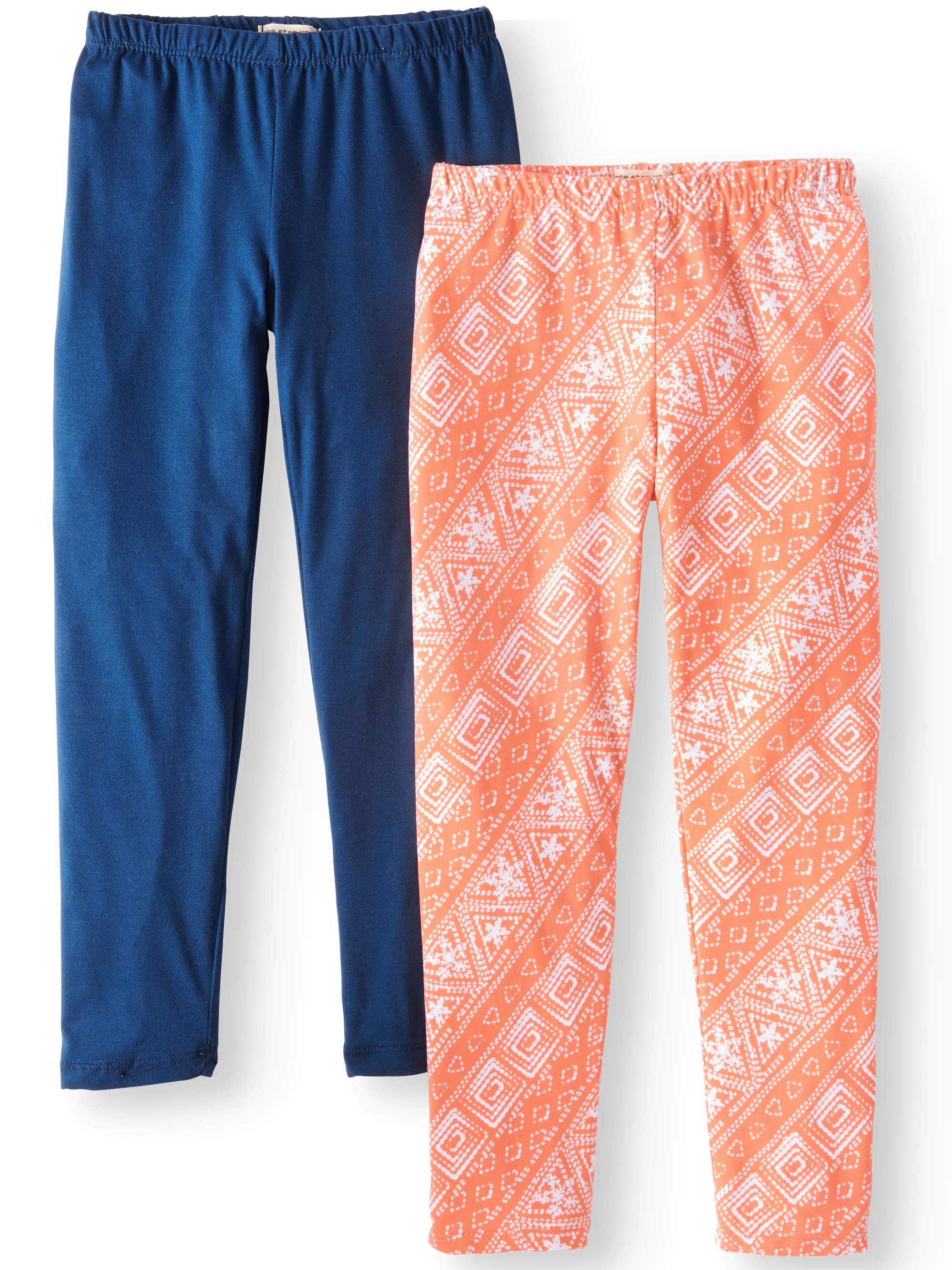 Solid and Printed Leggings, 2-Pack (Little Girls & Big Girls)