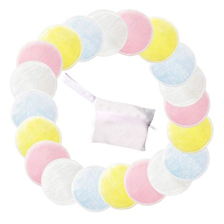 Tuscom Natural Cotton Rounds 8/12/16/20 Packs- Reusable Makeup Remover Pads for face Reusable Facial Pads Facial Cleansing Toner Pads with Laundry (Best Cotton Pads For Toner)