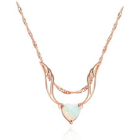 Peermont Rose Gold Plated Guardian Angel White Fire Opal Heart Necklace