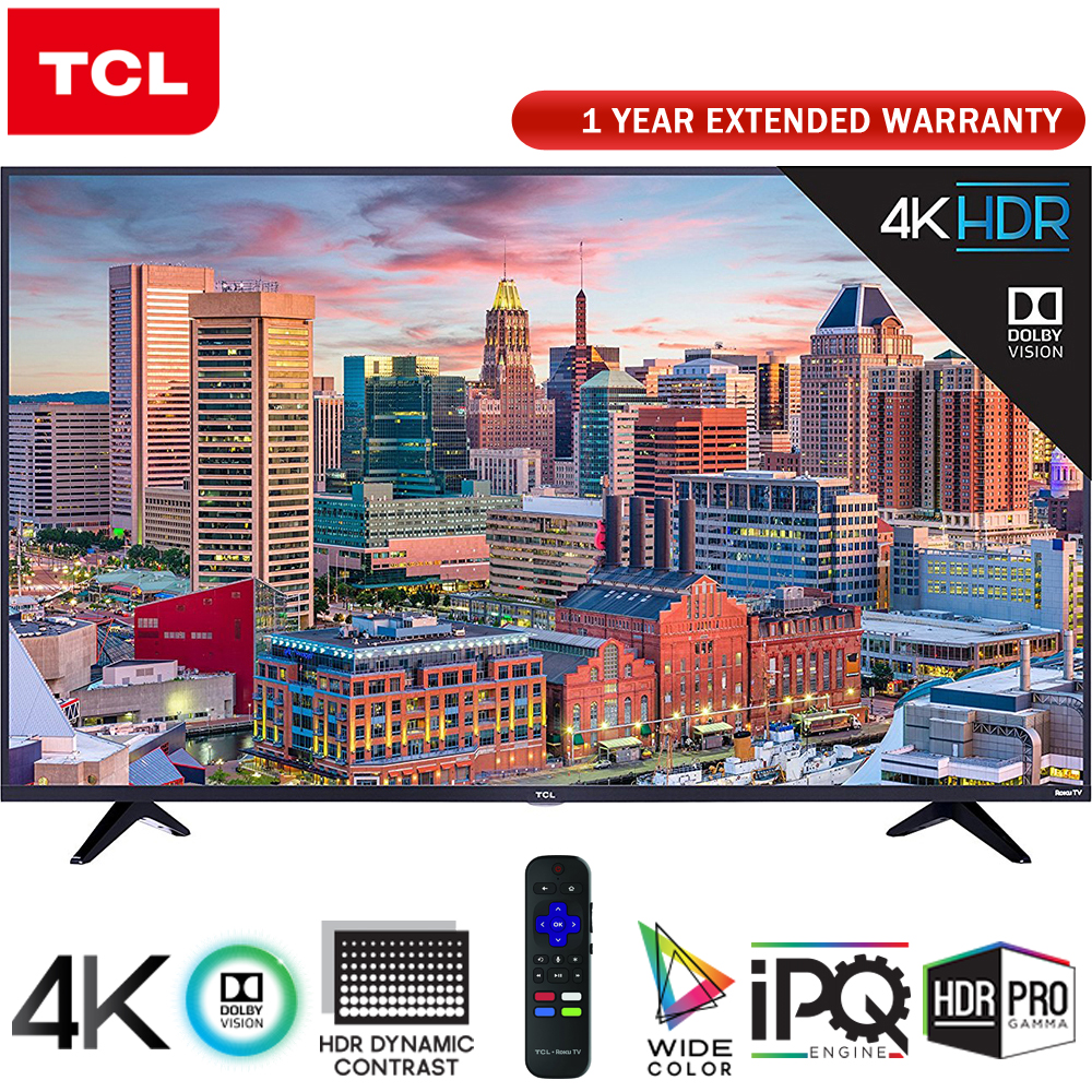 "TCL 55"" Class 5-Series Super-Slim 4K HDR Roku Smart TV 2018 Model (55S517) + 1 Year Extended Warranty"