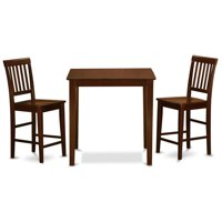 East West Furniture VERN3-MAH-W Counter Height Pub Table & 2 Kitchen Chairs, Mahogany
