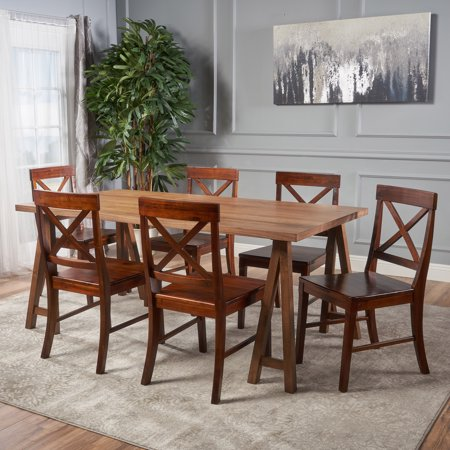 Le House Montecito Farmhouse Natural Walnut Wood Dining Set With Chairs