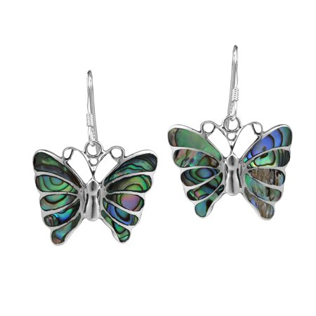 Stunning Butterfly Inlay Abalone Shell .925 Sterling Silver Dangle Earrings