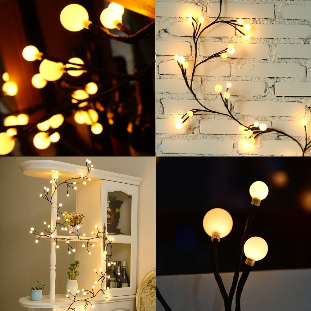 Estink 8 Feet Rattan LED String Lights With 72 Bulbs Waterproof Copper Wire  Globe Fairy Lights