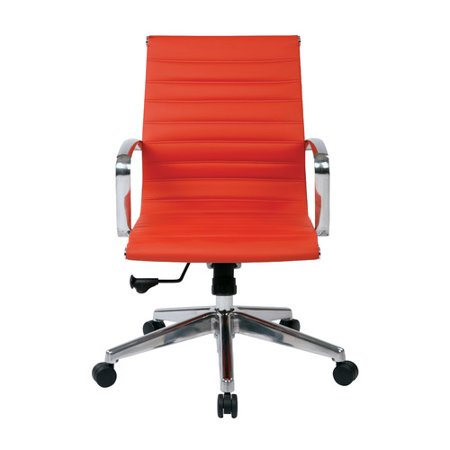 OSP Furniture Mid-Back Red Eco Leather Chair with Locking Tilt Control and Polished Aluminum Arms and Base, Red