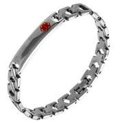 Men's Silvertone Stainless Steel Thin Caduceus ID Bar Snap Clasp 7.5 Inch Bracelet