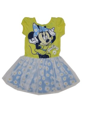 "Disney Little Girls Yellow Blue Minnie ""Cutie"" Flower Print Tutu Dress"