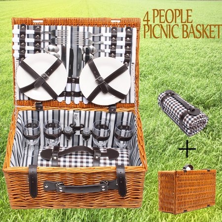 4 people Home & Living Picnic Basket Baskets Set Insulated Mat Blanket Park Strong Wicker Hiking Outdoor Picnic and Trip for  Picnic Lovers Christmas Lunch Party - Picnic Baskets Wholesale
