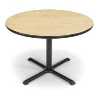 "OFM Model XT42RD 42"" Multi-Purpose Round Table with X-Style Pedestal Base, Oak"