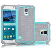 Galaxy S5 Case, Galaxy S5 Sturdy Case, Tekcoo [Tmajor] [Turquoise/Grey] Shock Absorbing Hybrid Rubber Plastic Impact Defender Rugged Slim Hard Case Cover Shell For Samsung Galaxy S5 S V I9600 GS5
