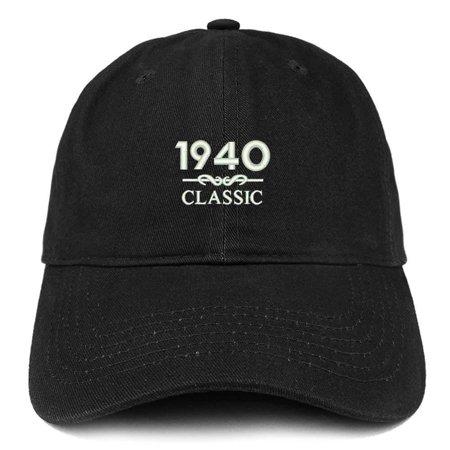1940 Baseball (Trendy Apparel Shop Classic 1940 Embroidered Retro Soft Cotton Baseball Cap - Black )