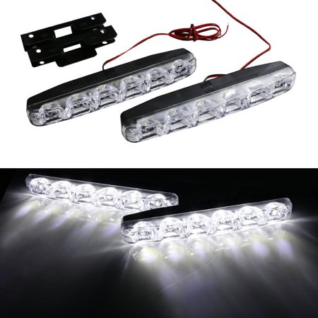 Ijdmtoy 2Pcs Universal Fit Led Daytime Running Lights For Acura Audi Bmw Cadillac Chevrolet Dodge Ford Gmc Honda Hyundai Infiniti Jeep Lexus Mercedes Mitsubishi Nissan Scion Subaru Toyota Volkswagen