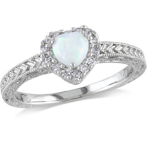1/3 Carat T.G.W. Opal and 1/7 Carat T.W. Diamond Fashion Ring in Sterling Silver