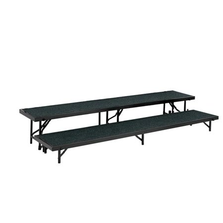 National Public Seating RS2LC-02 2 Level Straight Standing Choral Riser, Grey Carpet - 18 x 96 in. Platform