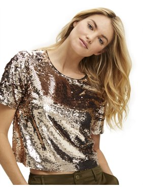 Scoop Women's Sequin Crop Top