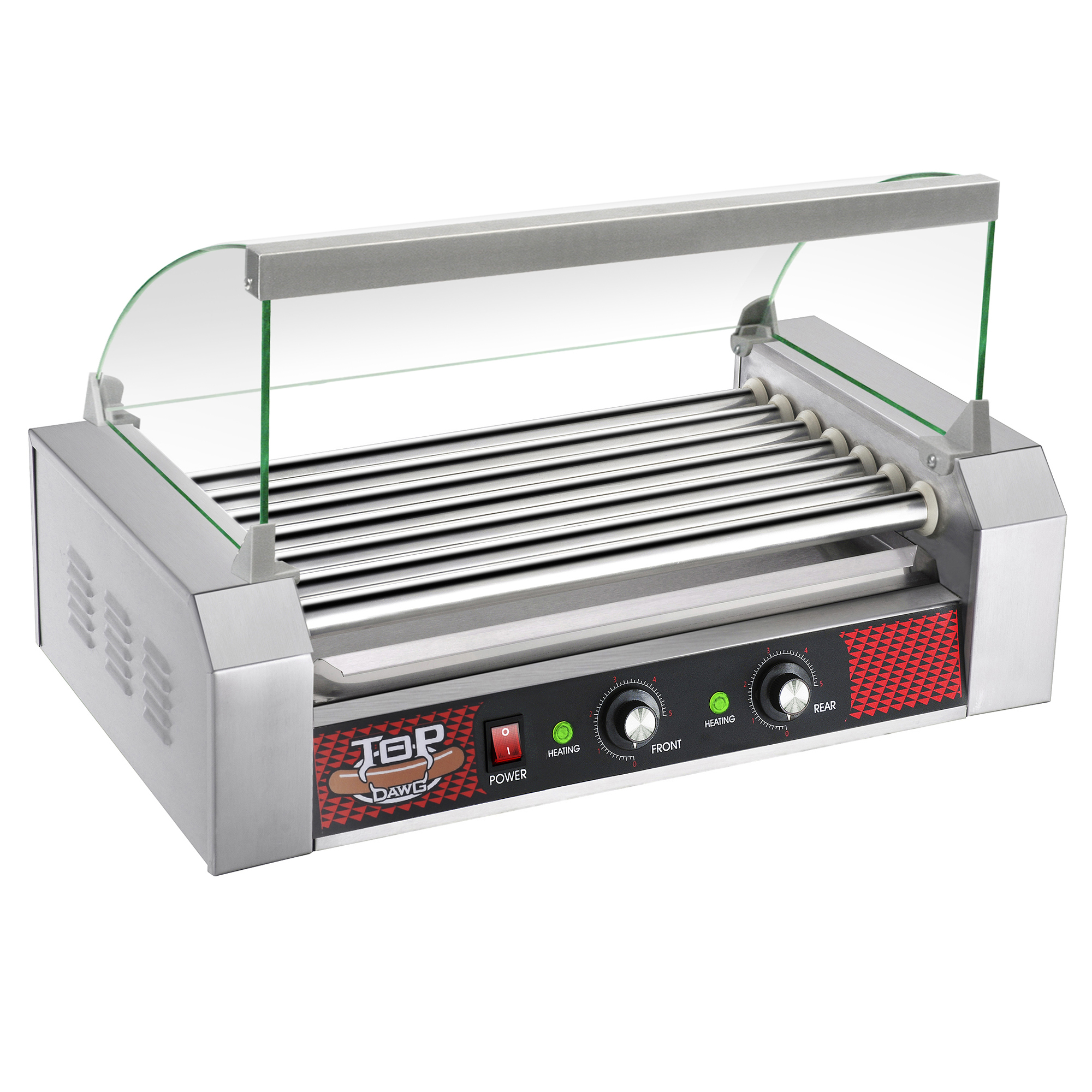 Great Northern Commercial Quality 18 Hot Dog 7 Roller Grilling Machine W/ Cover 1400Watts
