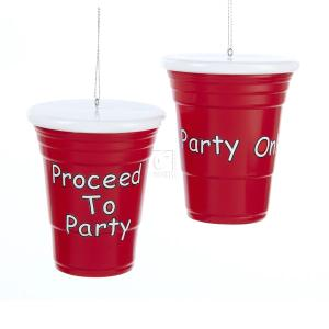 4 Inch 1 Set 2 Assorted Red Party Cup Blow Mold Ornaments