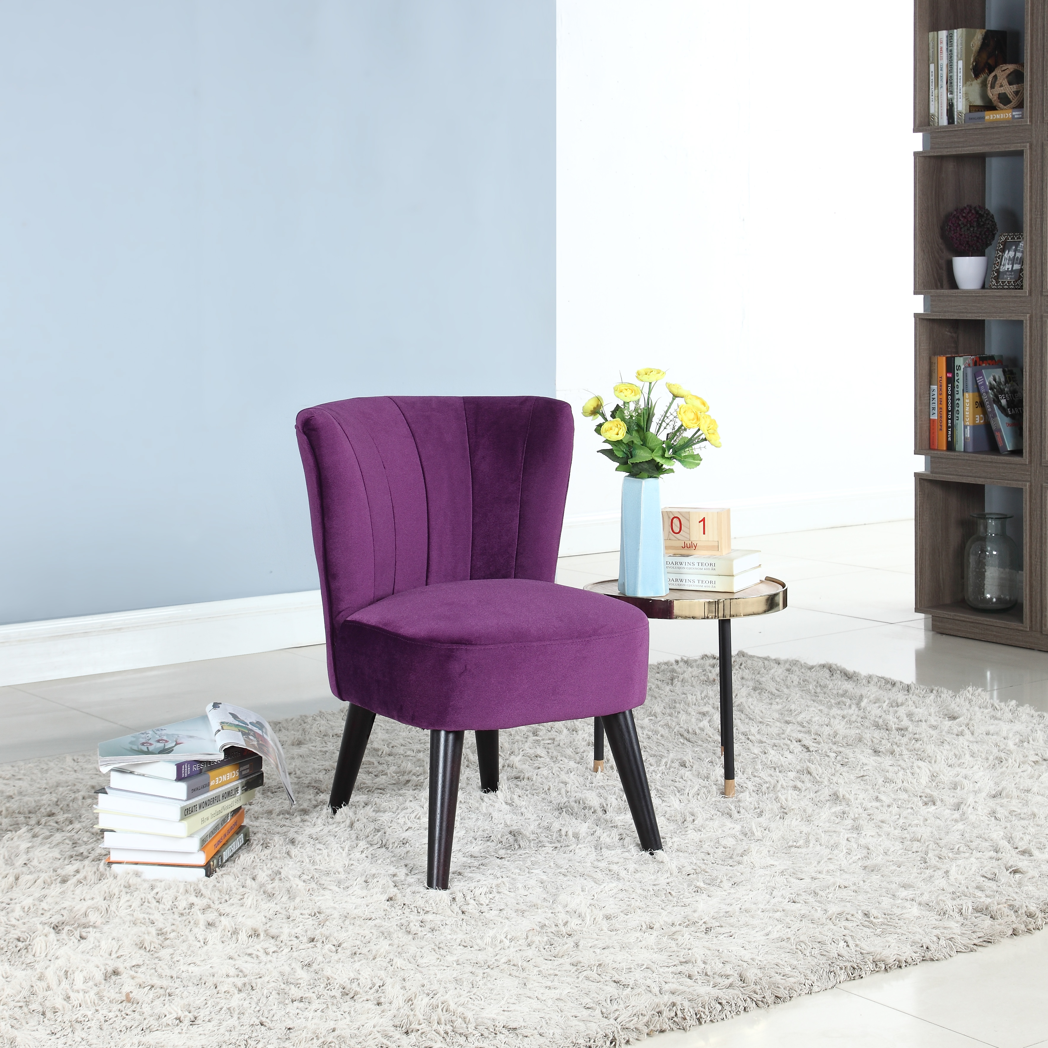 Traditional Living Room Velvet Fabric Accent Chair