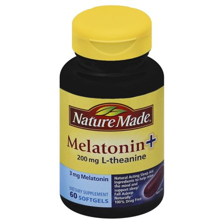 Nature Made Melatonin+ 200mg L-Theanine Softgels, 60