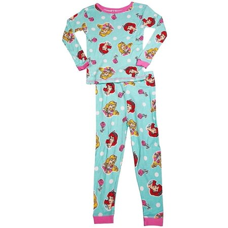 Disney Princess 100% Cotton Girls Long Sleeve Sleep Lounge Pajamas Set, 36288 aqua / 8 Disney Store Princess Pj