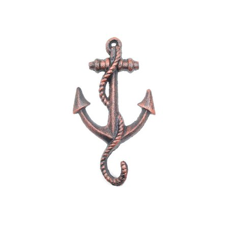 "Rustic Copper Cast Iron Anchor Hook 5"" - Nautical Wall Hook - Nautical Decor"