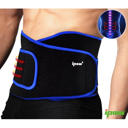 Lightweight Back Support - IPOW Lumbar Brace Back Strap Pain Relief Belt Breathable Soft Elastic Sport Back Support Stabilizing Medical Waist Trimmer w/ Velcro for Scoliosis, Sciatica, Spinal, Lifting, Workout, Exercise, 44.5in