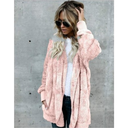 Women Casual Fuzzy Fleece Hooded Cardigan Pocket Faux Fur Outerwear Coat Faux Fur Coat Lamb Wool Overcoat Long Sleeve Hooded Outwear (Bonded Fleece Outerwear)