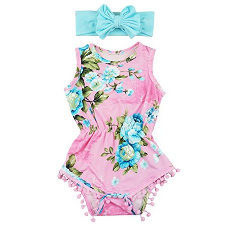 b111b5e3934d Posh Peanut - Posh Peanut Infant Baby Girls Floral Pom Pom Romper and Headband  Set - Pink Turquoise - Walmart.com