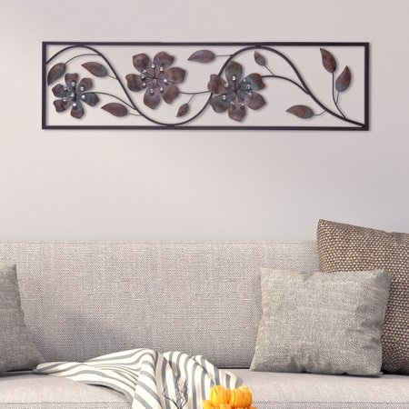 Patton Wall Decor Bronze Jeweled Flower Vine Decorative Metal Wall (Metal Bronze)