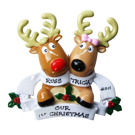 Reindeer couple with scarves 2 personalized christmas ornament do it reindeer couple with scarves 2 personalized christmas ornament do it yourself solutioingenieria Gallery