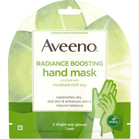 2 Pack - Aveeno Radiance Mask with Moisture Rich Soy, Moisturizing Hand Gloves to Replenish Dry Dull Skin, Paraben-Free,