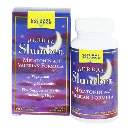 Natural Balance - Herbe Slumber Melatonin et Valerian Formule - 60 Capsules