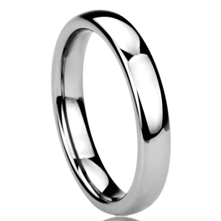 Women's 4MM Titanium Comfort Fit Wedding Band Ring High Polished Classy Domed Ring (5 to 11) Classy Design Wedding Band Ring