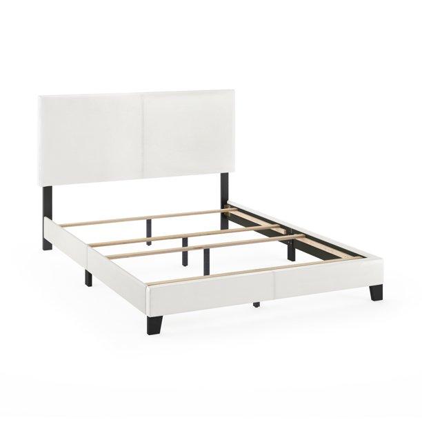Furinno Pessac Upholstered Bed Frame, Upholstered Bed Frame Queen White