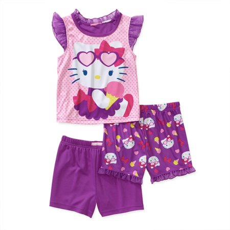 Baby Girls' Hello Kitty 3 Piece Short Sl