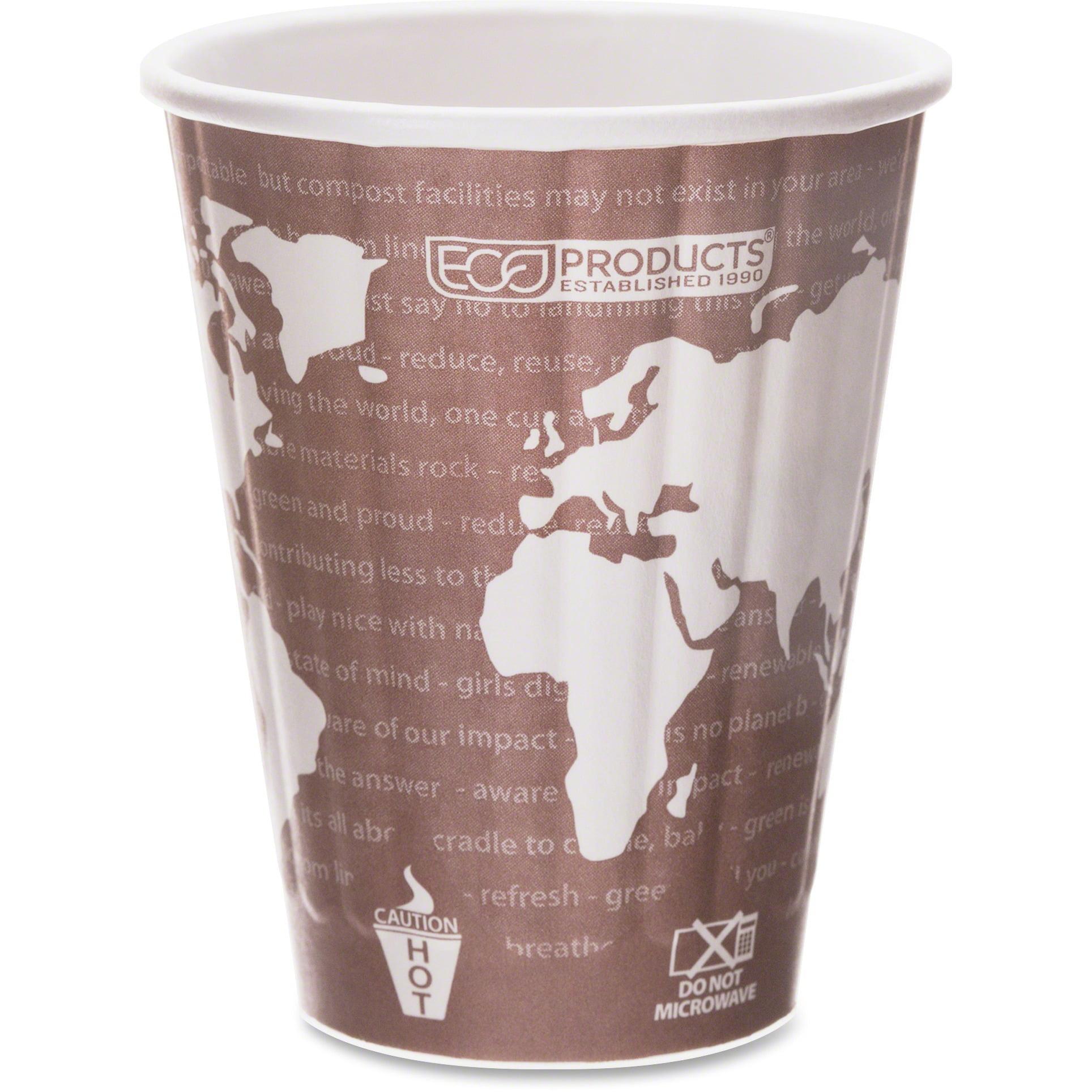 Eco-Products, ECOEPBNHC8WD, World Art Insulated Hot Cups, 800 / Carton, Maroon, 8 fl oz