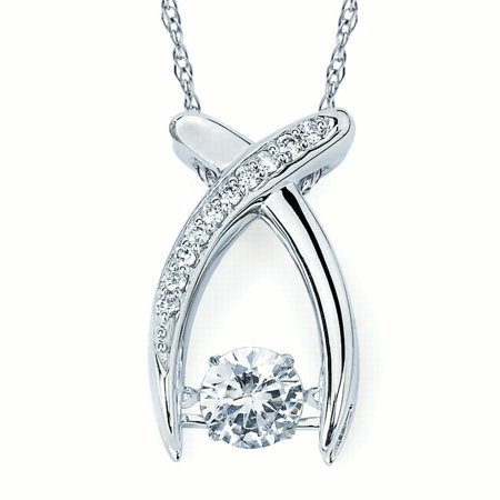 Brilliance in motion 14k white gold 34 ctw dancing diamond brilliance in motion 14k white gold 34 ctw dancing diamond horseshoe pendant necklace aloadofball Image collections
