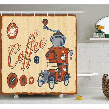 1960S Decor Shower Curtain Set, Artsy Commercial Design Of Vintage Truck With Coffee Grinder In Old-Fashioned Color, Bathroom Accessories, 69W X 70L Inches, By Ambesonne