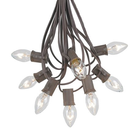 Novelty Lights C7 Christmas Lights Set - Indoor/Outdoor Christmas Light String - Christmas Tree Lights - Hanging Christmas Lights - Outdoor Patio String Lights - Brown Wire - 25 Foot